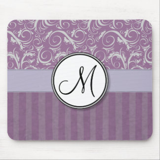 Lavender Floral Wisps & Stripes with Monogram Mouse Pad