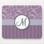 Lavender Floral Wisps & Stripes with Monogram Mousepad