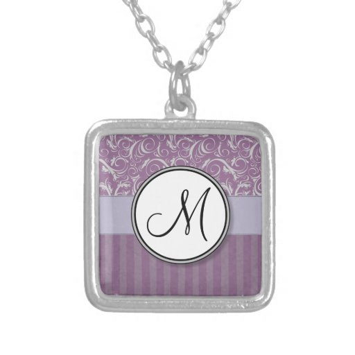 Lavender Floral Wisps & Stripes with Monogram Jewelry