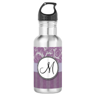 Lavender Floral Wisps & Stripes with Monogram Stainless Steel Water Bottle