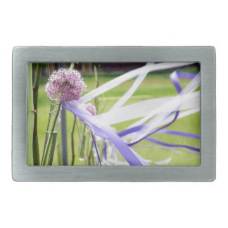 Lavender flower ball with streaming ribbons belt buckle