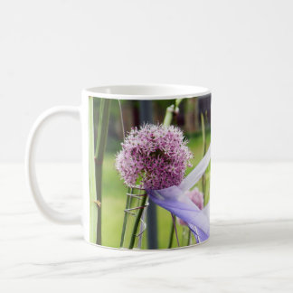 Lavender flower ball with streaming ribbons coffee mug