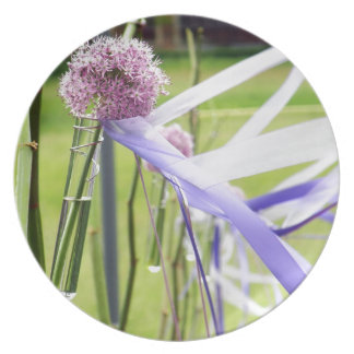 Lavender flower ball with streaming ribbons melamine plate