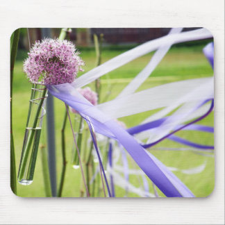 Lavender flower ball with streaming ribbons mouse pad