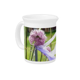 Lavender flower ball with streaming ribbons pitchers