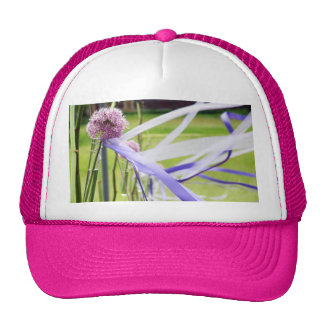 Lavender flower ball with streaming ribbons trucker hat