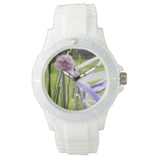 Lavender flower ball with streaming ribbons wristwatches