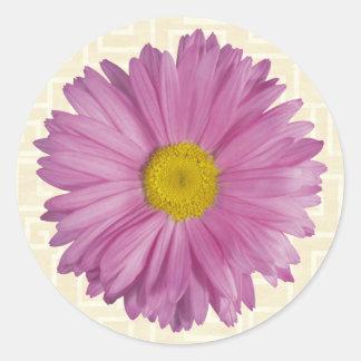 Lavender Flower on Beige Classic Round Sticker