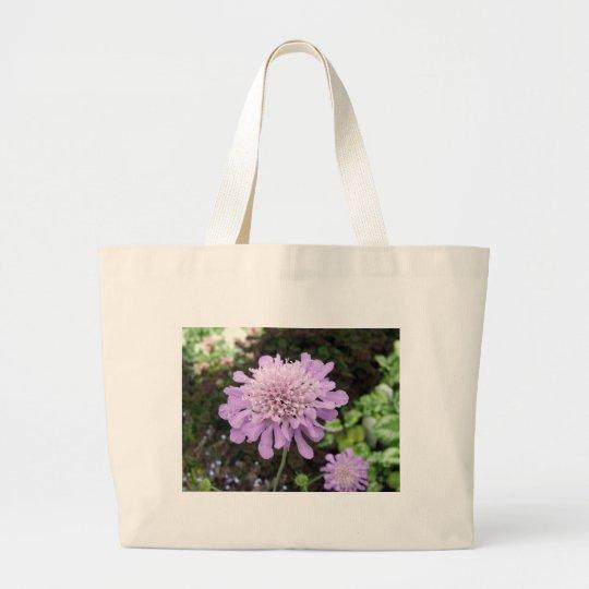 Lavender Flower:: Scabiosa Large Tote Bag