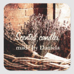 lavender flower scented candle customized label