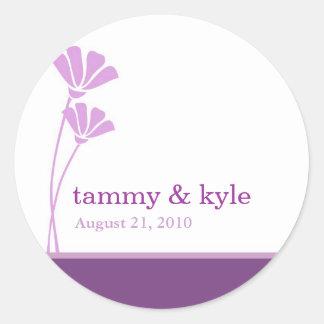 Lavender Flower Wedding Stickers Round Sticker