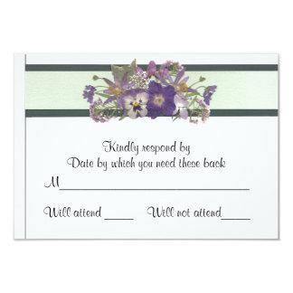 "Lavender Flowered Response Card 3.5"" X 5"" Invitation Card"