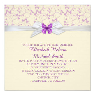 Lavender Flowers Damask Butterfly Wedding Invite