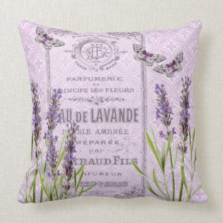 Lavender Flowers French Perfume Collage Decorative Throw Pillow