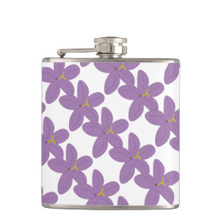 Lavender Flowers Hawaiian Floral Print on White Hip Flask