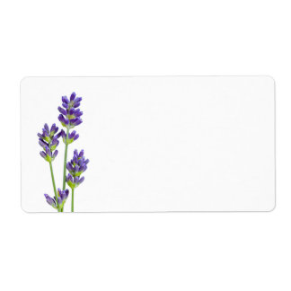 Lavender Flowers Isolated On White Background Custom Shipping Label