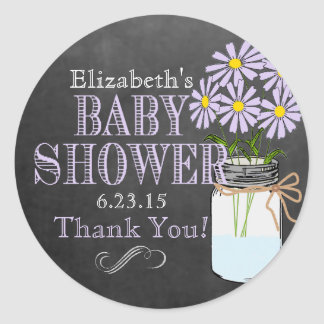 Lavender Flowers Mason Jar Baby Shower Classic Round Sticker
