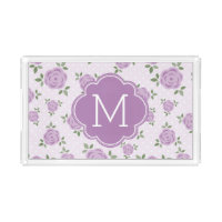 Lavender Flowers Pattern and Monogram Acrylic Tray