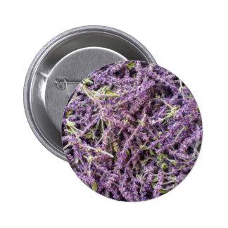 Lavender flowers pattern pinback button
