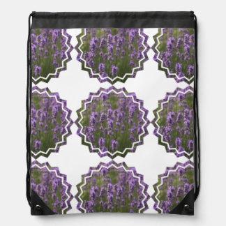 Lavender Flowers Drawstring Bag