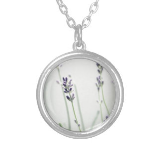 Lavender Flowers Silver Plated Necklace
