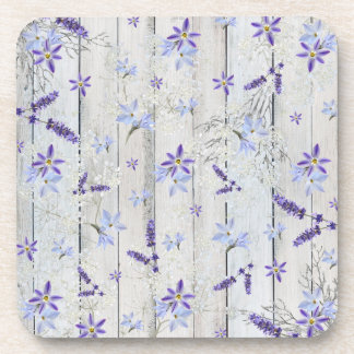 Lavender Flowers & Stems on White Wood coasters