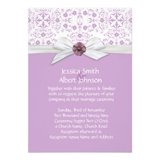 Lavender Flowers Swirls Damask Wedding Invite