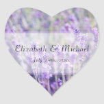 Lavender Flowers Wedding Favor Label Heart Sticker