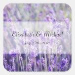 Lavender Flowers Wedding Favor Label Square Sticker