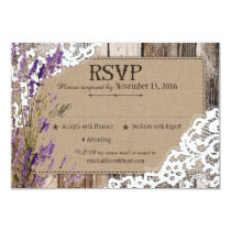 Lavender Flowers Wood Lace Rustic RSVP Card