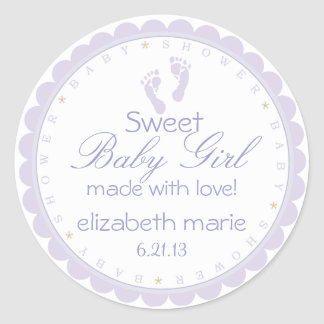 Lavender Footprints- Baby Shower Classic Round Sticker