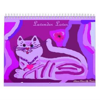 Lavender for Love kitty Calender Wall Calendar