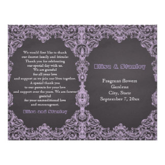 Lavender frame, chalkboard folded wedding program