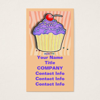Lavender Frosted CUPCAKE BUSINESS CARDS in Peach