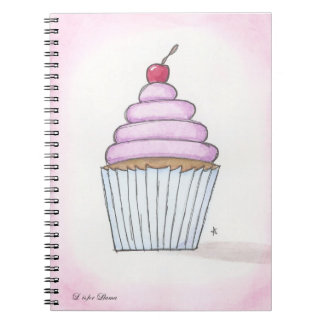 lavender frosted cupcake notebook