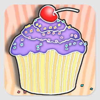 Lavender Frosted CUPCAKE STICKER