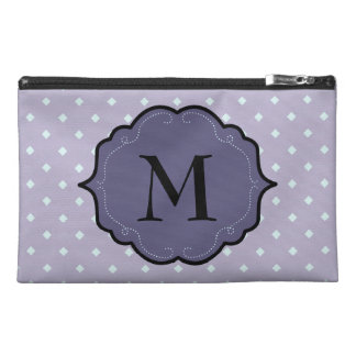 Lavender Geometric Dots Purple Monogram Banner Travel Accessory Bags
