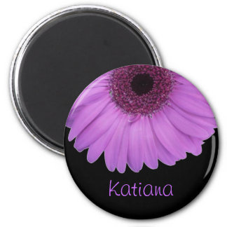 Lavender Gerbera Daisy on Black Personalized Magnet