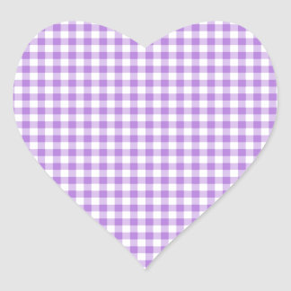 Lavender Gingham Heart Sticker
