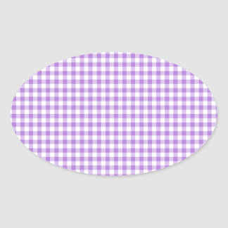 Lavender Gingham Oval Sticker