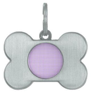 Lavender Gingham Pet Name Tag