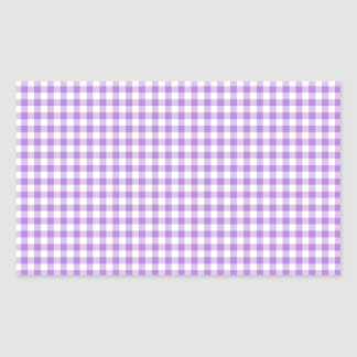 Lavender Gingham Rectangular Sticker