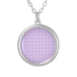 Lavender Gingham Silver Plated Necklace