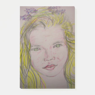 lavender girl post-it notes