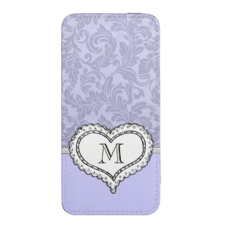 Lavender girly cute damask romantic heart monogram iPhone 5 pouch