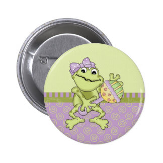 Lavender Girly Frog Button