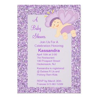 Lavender Glitter Baby Butterfly Shower Invite