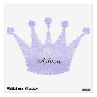 Lavender Glitter Crown Personalized Wall Decal