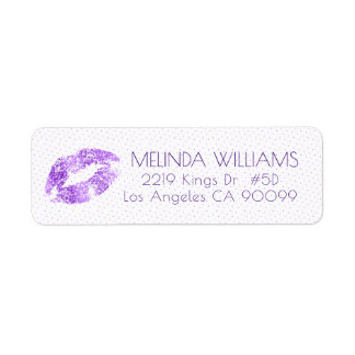 Lavender Glitter Lips & Dots pattern Label