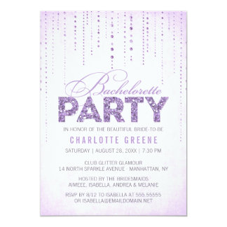Lavender Glitter Look Bachelorette Party Card